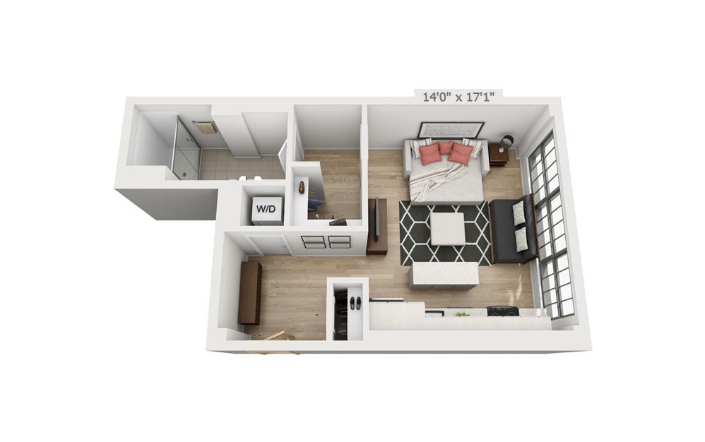A3 - Studio floorplan layout with 1 bath and 504 square feet.