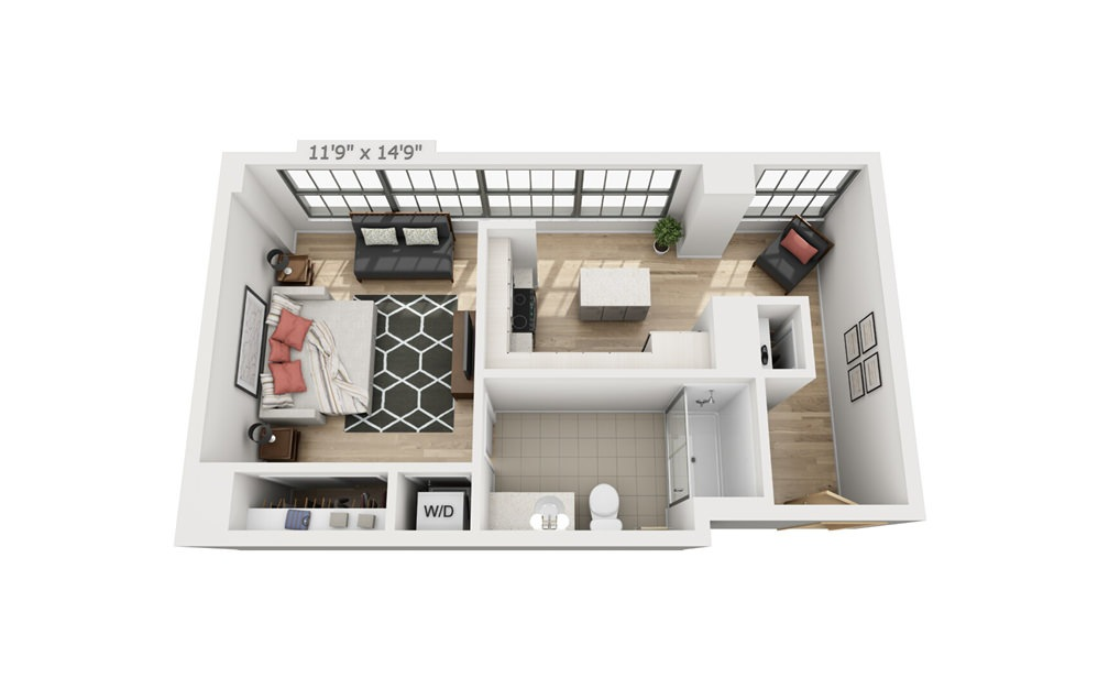 A4 - Studio floorplan layout with 1 bath and 597 square feet.