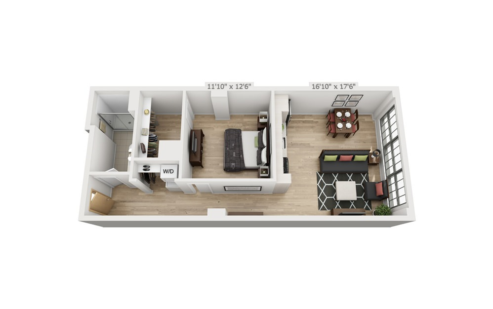 B1 - 1 bedroom floorplan layout with 1 bath and 780 square feet.