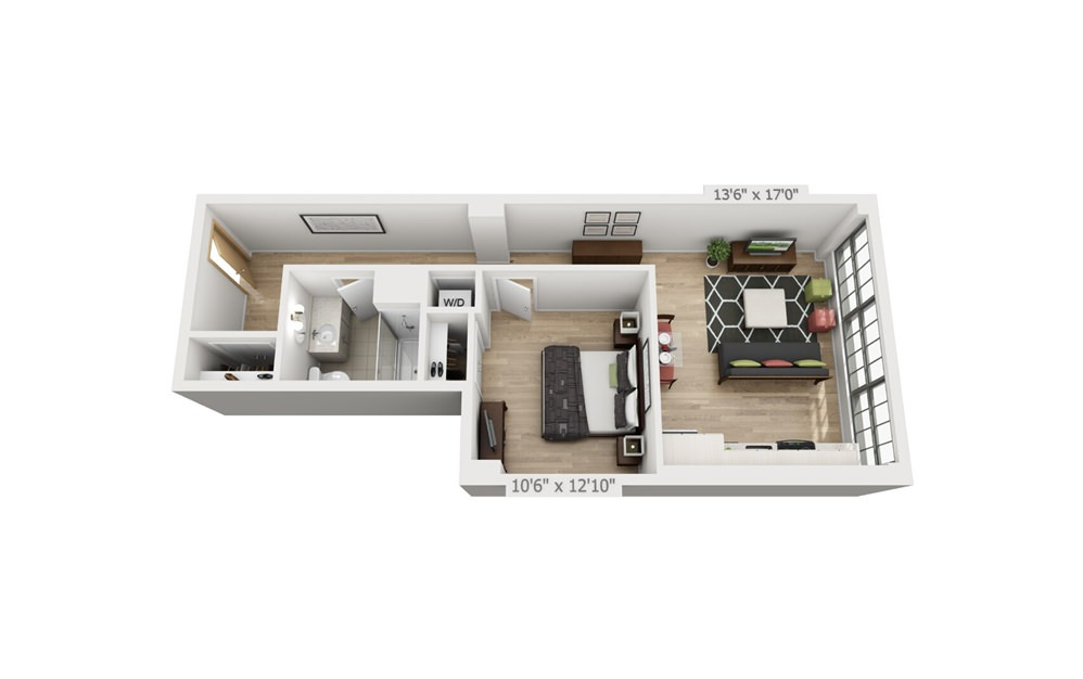 B2 - 1 bedroom floorplan layout with 1 bath and 713 square feet.
