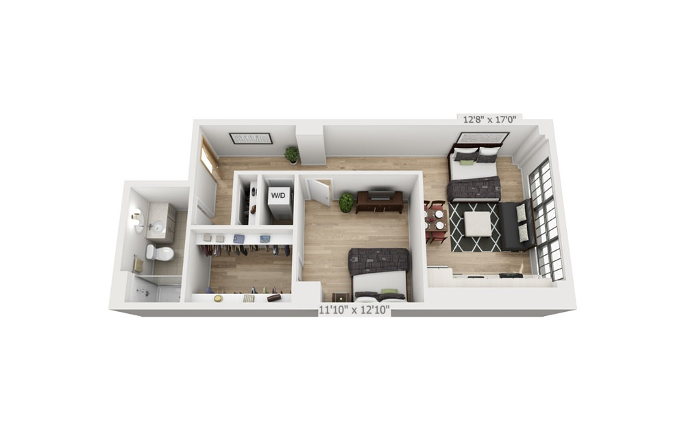 B3 - 1 bedroom floorplan layout with 1 bath and 796 square feet.