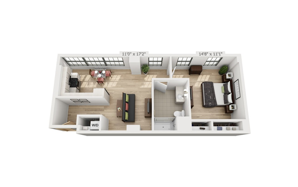 B4 - 1 bedroom floorplan layout with 1 bath and 771 square feet.