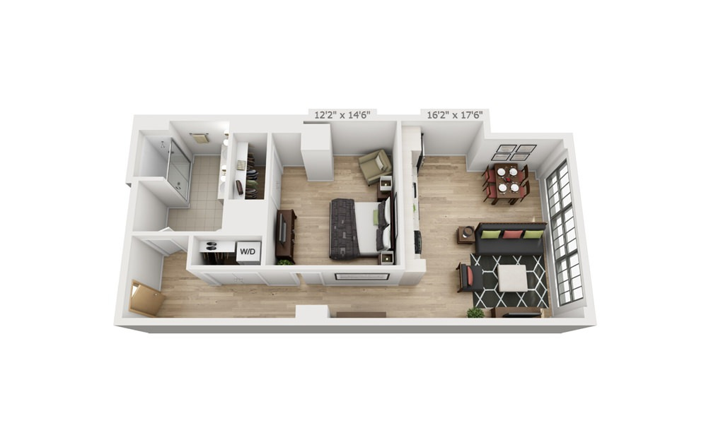 B5 - 1 bedroom floorplan layout with 1 bath and 856 square feet.
