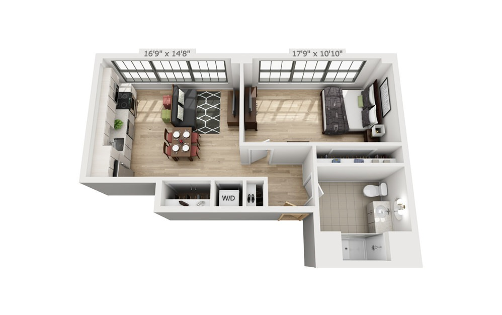 B6 - 1 bedroom floorplan layout with 1 bath and 726 square feet.
