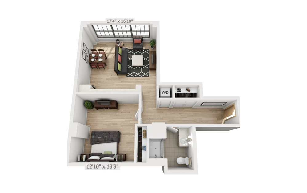 B7 - 1 bedroom floorplan layout with 1 bath and 790 square feet.