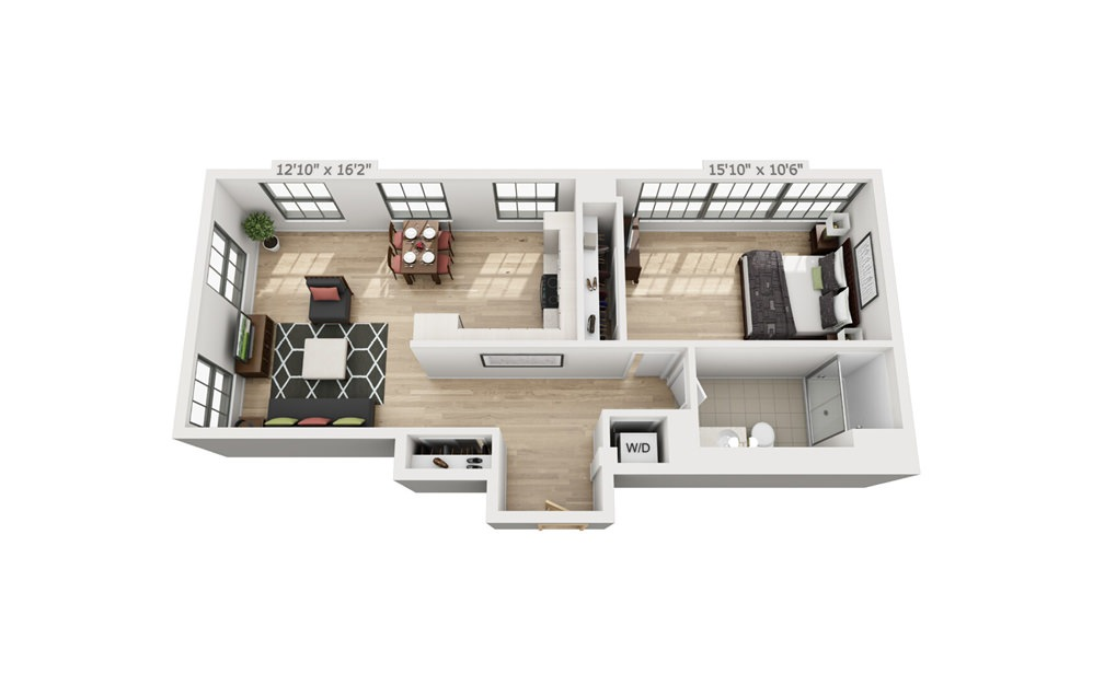 B8 - 1 bedroom floorplan layout with 1 bath and 839 square feet.