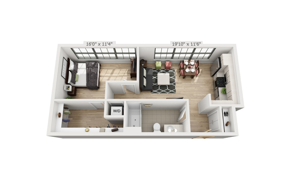 B9 - 1 bedroom floorplan layout with 1 bath and 721 square feet.