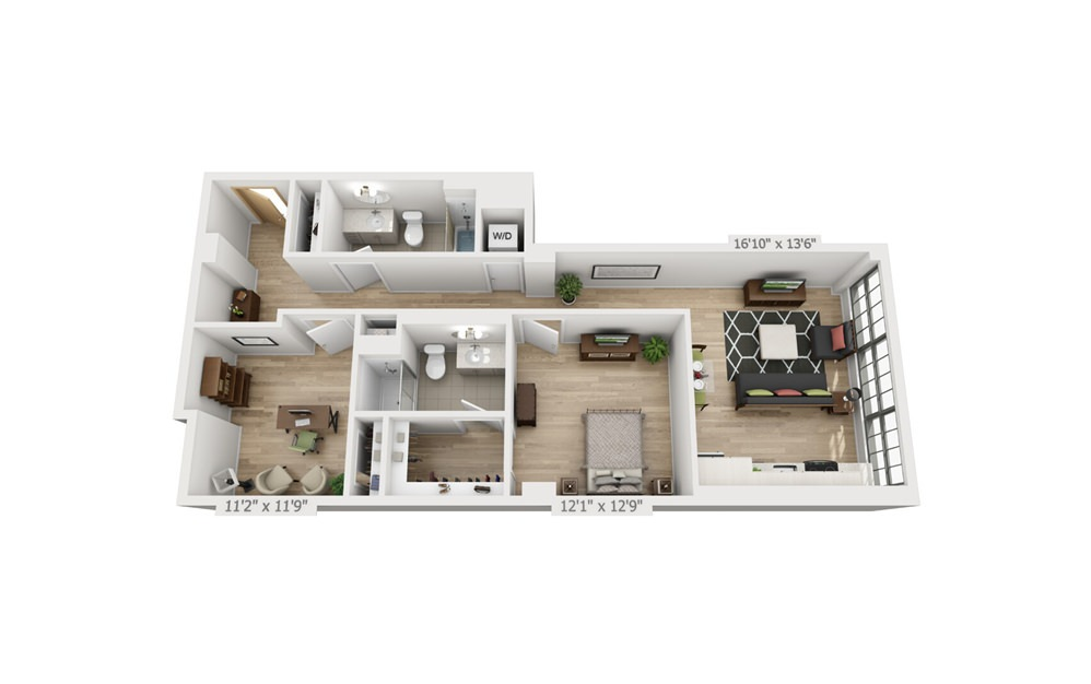 C1 - 1 bedroom floorplan layout with 2 baths and 1046 square feet.