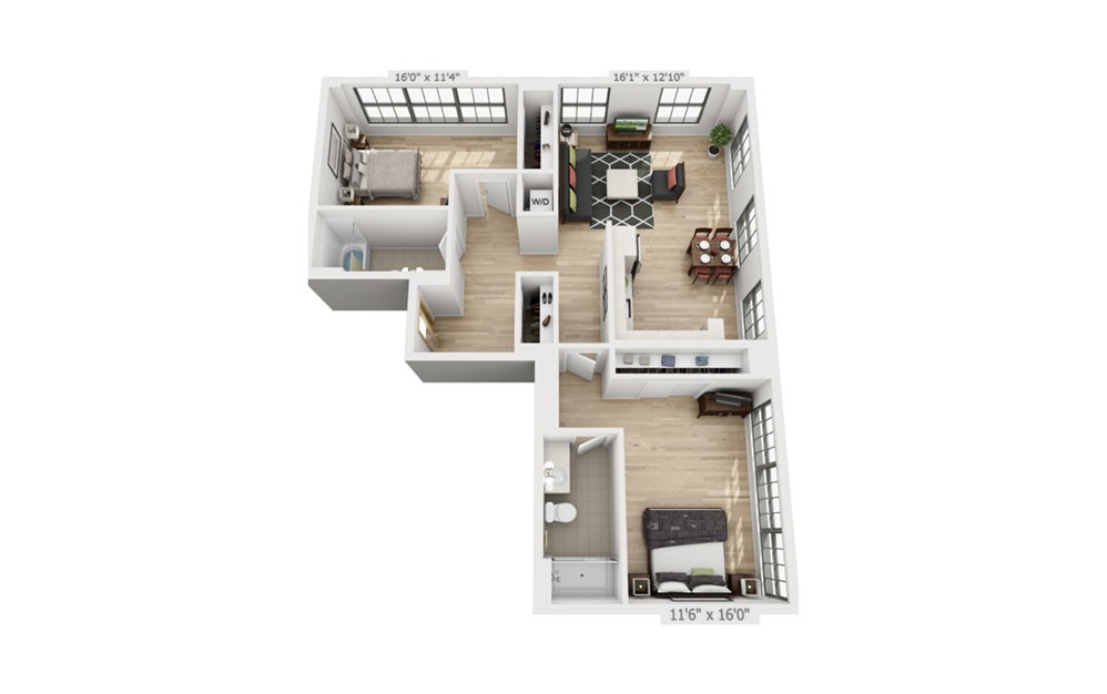 D2 - 2 bedroom floorplan layout with 2 baths and 1225 square feet.