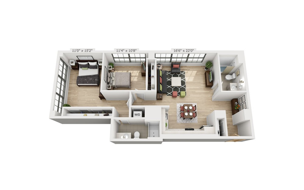 D3 - 2 bedroom floorplan layout with 2 baths and 1139 square feet.